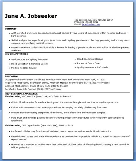 Phlebotomy Resume by Phlebotomist Resume Sle Free Resume Downloads