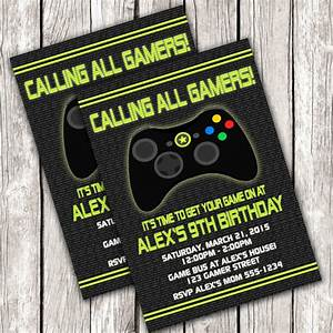 gamer invitation video game birthday party diy printable With xbox wedding invitations