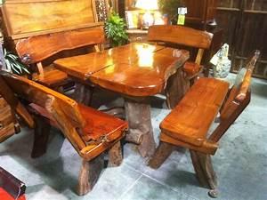 this rustic teak wood slab table has live edge log legs With log slab coffee table