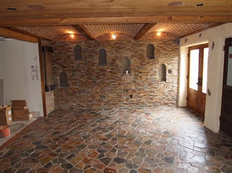 stone wall traditional family room philadelphia