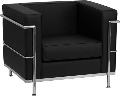 contemporary black leather chair with encasing frame bar
