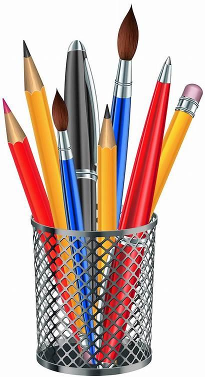 Pencil Transparent Clipart Cup Clip Pens Supplies