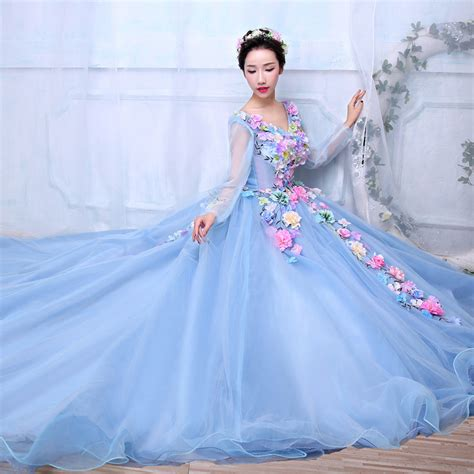neck long sleeve light blue tulle pastel floral long