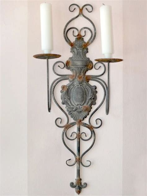 wall sconce with shabby cottage chic 2 arm wall sconce metal grey