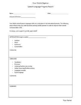 Speech Therapy Progress Report Template by Speech And Language Therapy Progress Report Form By
