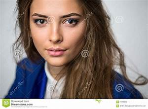 Portrait Of A Beautiful Brown Haired Girl Stock Photo