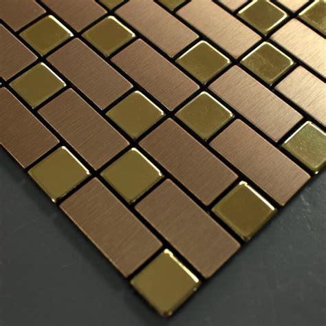 stainless steel tile metallic mosaic tile backsplash brushed gold