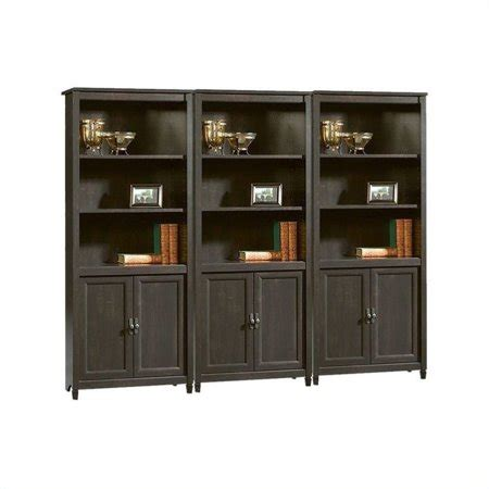 walmart black bookshelf sauder edge water library wall bookcase in estate black