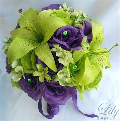 green with purple flower 17pcs wedding bridal bride bouquet flowers by lilyofangeles