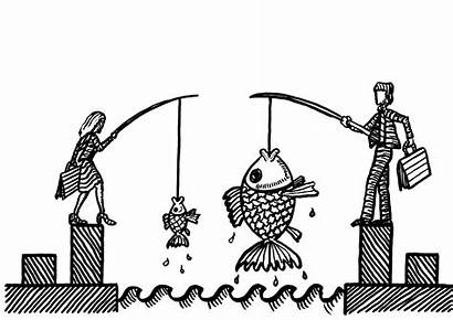 Fish Woman Catching Rival Fisher Male Illustrationer