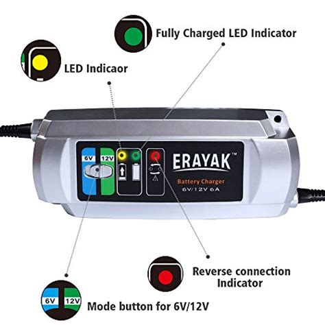Erayak 6v/12v 6a Automatic Car Battery Charger Maintainer