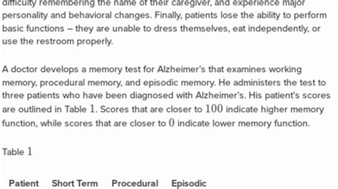 Differential memory loss and Alzheimer's Disease (practice ...