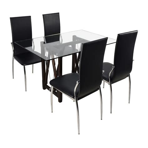 Buy Dining Table Chairs by 61 Glass Top Dining Table And Leather Chairs Tables