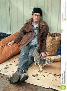 Homeless Man And Friendly Stray Cat Stock Image - Image ...