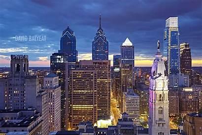 Philadelphia Skyline Night Hall Definition Professional Sunset