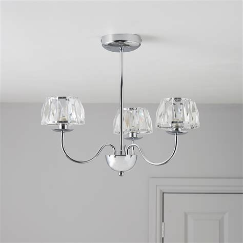 waldor faceted glass chrome effect 3 l pendant ceiling