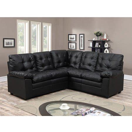 Buchannan Faux Leather Corner Sectional Sofa Black buchannan faux leather corner sectional sofa black