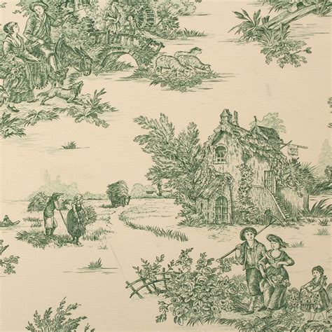 green toile de jouy pond house print curtain cushion upholstery fabric