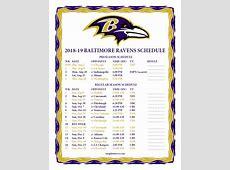 Printable 20182019 Baltimore Ravens Schedule