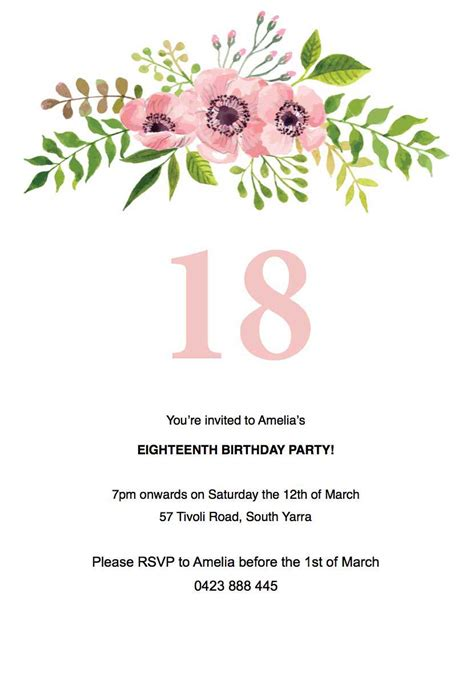 Invitation Template 40 Free 18th Birthday Invitation Templates Birthday