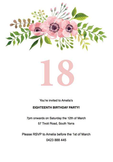 floral birthday invitation Template Paperlust
