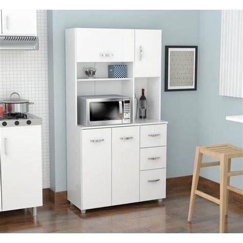 white kitchen storage microwave cabinet tall cupboard wood