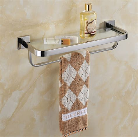 Glass Bathroom Shelves With Towel Rack by Stainless Steel 304 Bathroom Glass Shelf With Towel Rack