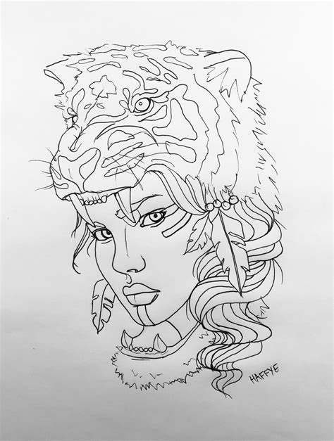 Native American Indian with tiger headdress tattoo design by HAFFYE | Sketches, Drawing sketches