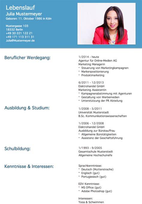 Muster Lebenslauf 2016 Kostenlos by Lebenslauf Muster 2 Hellblau Kostenlos Downloaden