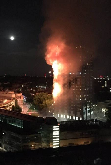 Image captiona massive fire broke out in a west london tower block soon after midnight on wednesday. London fire - Homework falls from burning Grenfell Tower ...