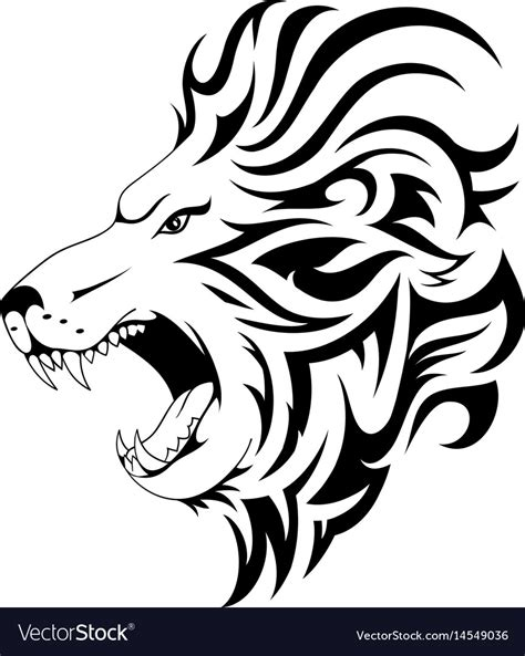 lion tribal tattoo design royalty  vector image