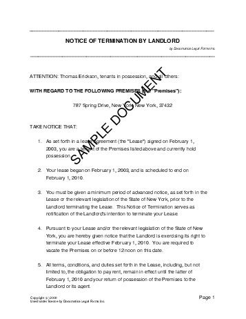 notice  termination  landlord united kingdom legal