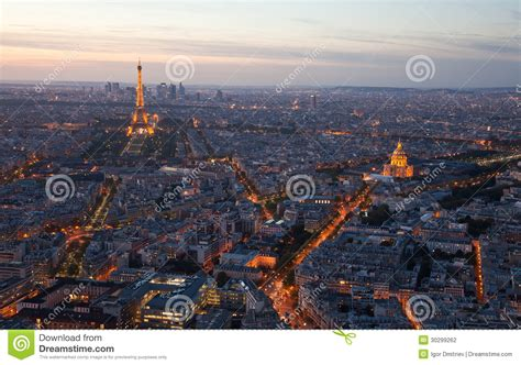 Les Jardins De Montmartre To Eiffel Tower by Night Paris France Top View Editorial Photography