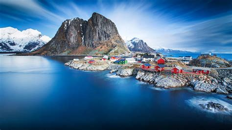Hamnoy In Blue Norway Lofoten Hd Wallpapers For Desktop