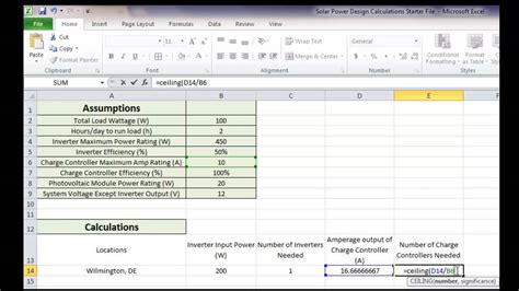 solar power design  excel youtube