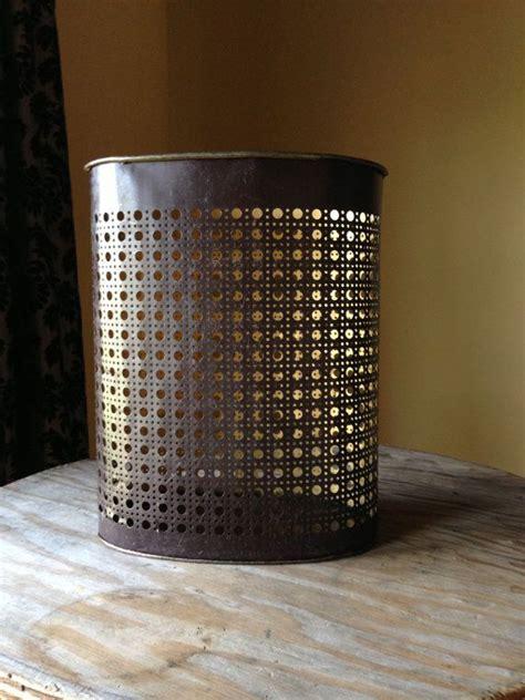vintage trash can brown 1960s metal waste basket weibro
