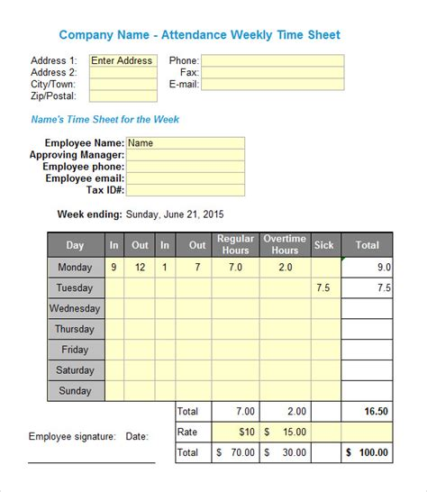 excel timesheet templates     excel
