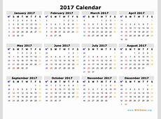2017 Calendar WikiDatesorg