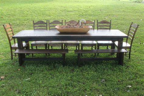 farm table dining set hand crafted custom rustic black walnut farm table dining