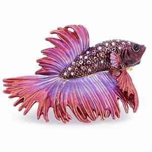 Red Purple Crowntail Betta Fish Trinket Box With Swarovski ...