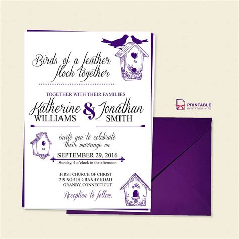 free pdf birds of a feather wedding invitation template