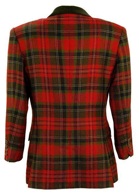 austin reed red green tartan jacket  velvet collar