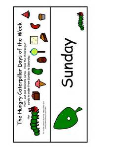 The Very Hungry Caterpillar Activities Days of the Week