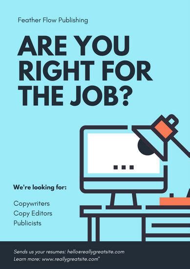 turquoise computer illustration hiring poster templates