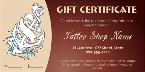 anchor themed tattoo gift certificate template