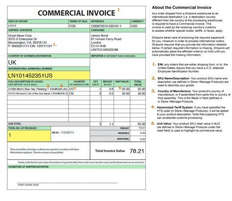 invoice  customs purposes  invoice template ideas