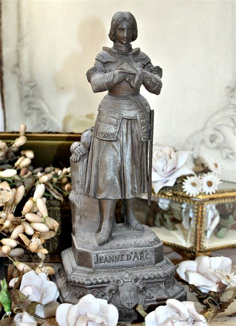 antique french religious statue joan  arc