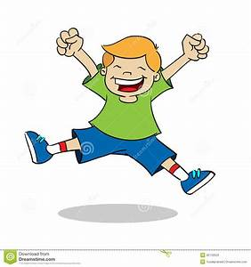 Boy jumping while smiling stock vector. Illustration of ...