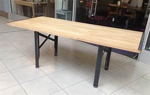 Table Rallonge Bois : table a rallonges design loft metal et bois ~ Teatrodelosmanantiales.com Idées de Décoration