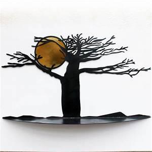 Etagère murale arbre métal noir tablette etagere murale design
